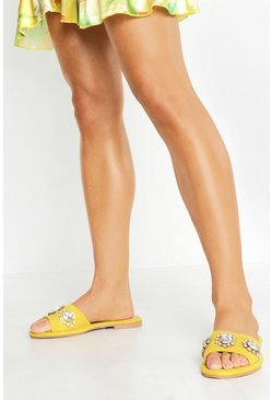 Womens Yellow Embellished Front Sliders