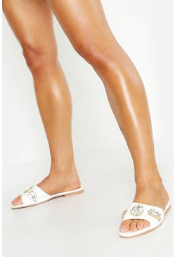 Womens White Embellished Front Sliders