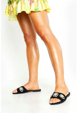 Womens Black Embellished Front Sliders