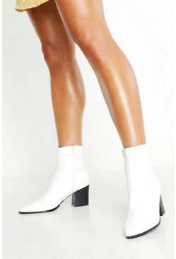 Dam White Pointed Toe Low Block Ankle Boots