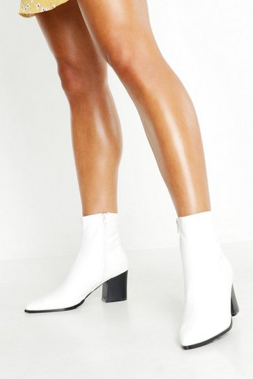 Womens White Pointed Toe Low Block Ankle Boots