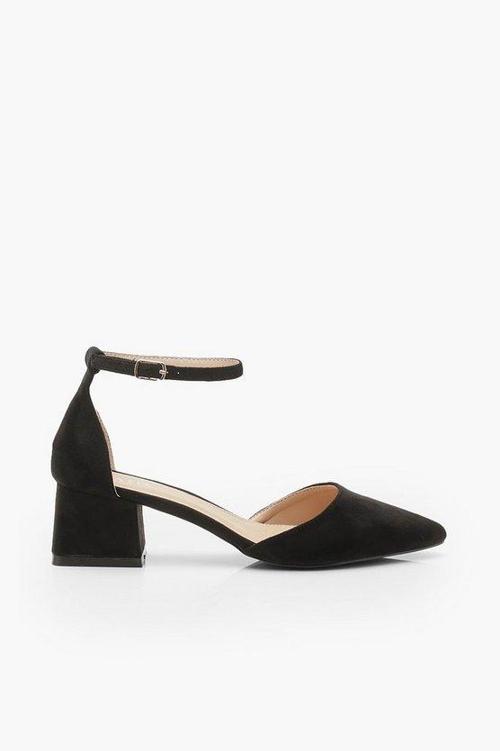 Pointed Toe Low Block Heel Ballets
