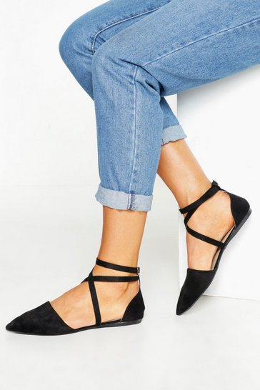 Black Pointed Toe Cross Strap Ballets