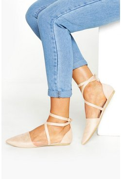 Womens Nude Pointed Toe Cross Strap Ballets