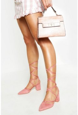Womens Blush Pointed Toe Wrap Up Low Block Heels