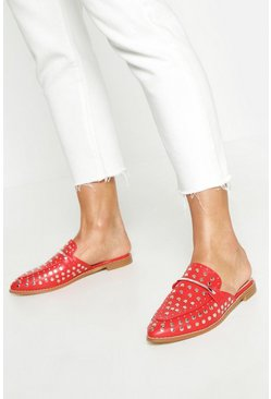 Womens Red Studded Mule Loafers