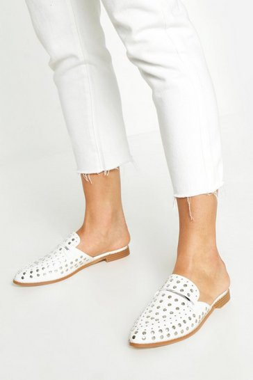 Womens White Studded Mule Loafers