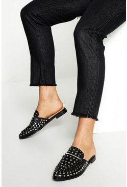 Womens Black Studded Mule Loafers