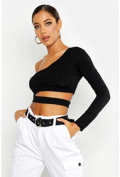 Womens Black Cut Out One Shoulder Long Sleeve Crop