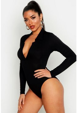 Womens Black V Plunge Collar Bodysuit