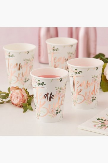 Womens Multi Floral Team Bride Cup 8 Pack