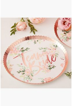 Lot de 8 assiettes Team Bride imprimé floral, Multi, Femme