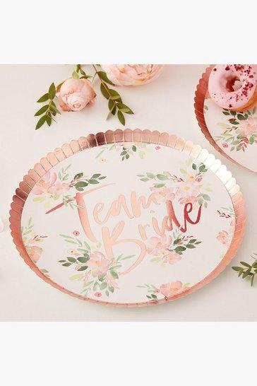 Womens Multi Floral Team Bride Plates 8 Pack