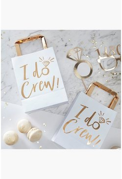 Womens White I Do Crew Party Bags 5 Pack