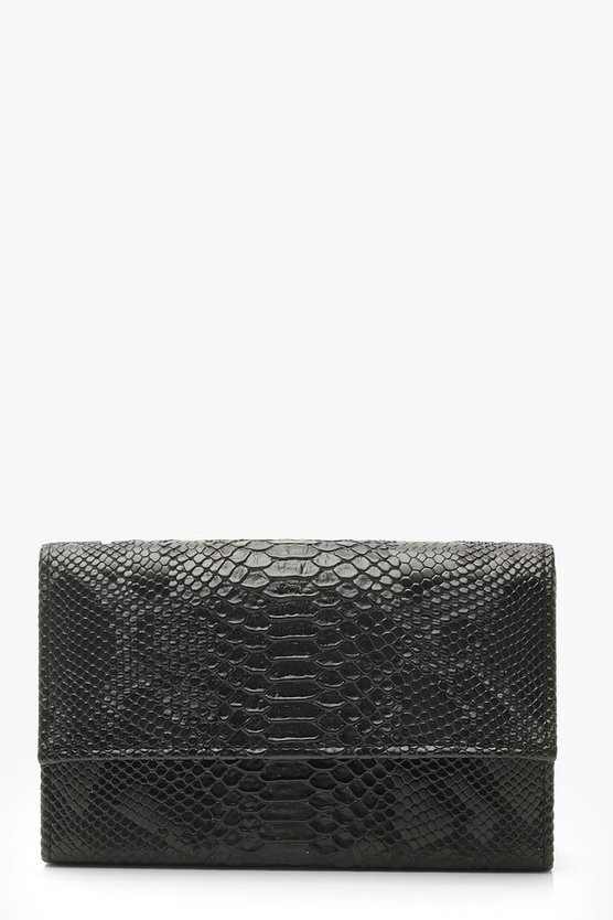 Womens Black Croc Flap & Chain Clutch