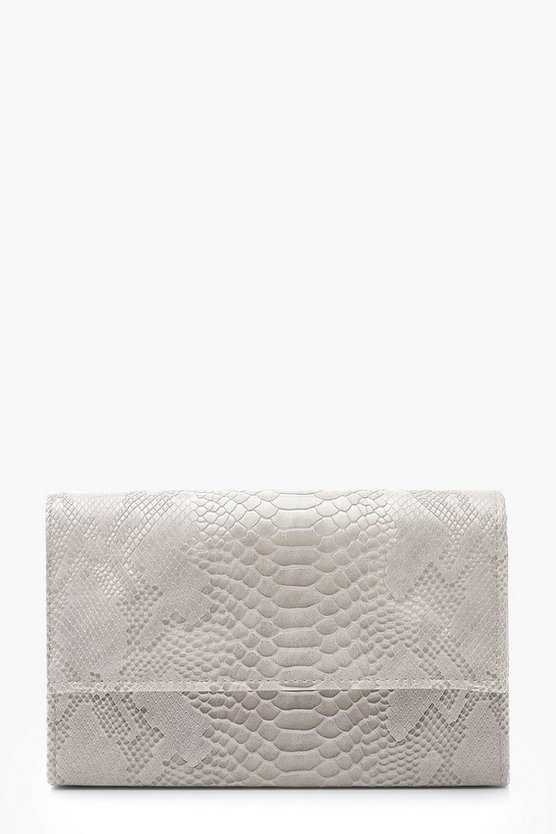 Womens Grey Croc Flap & Chain Clutch