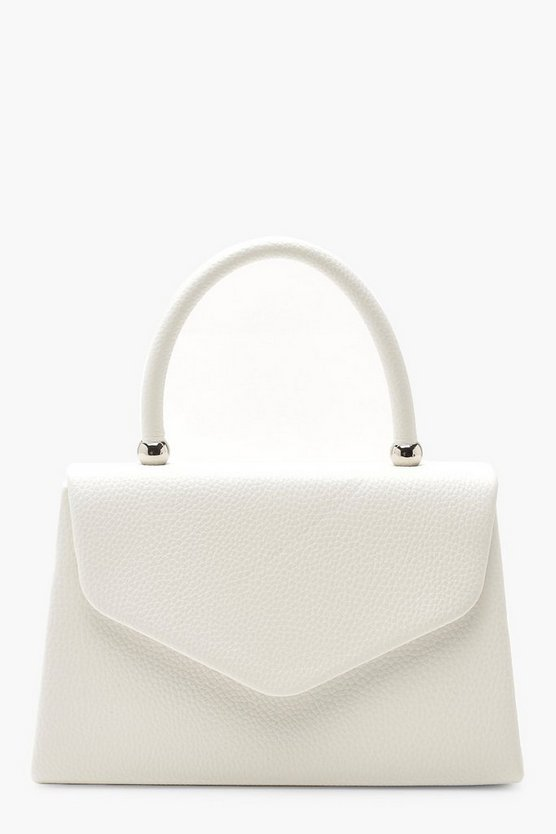 Womens White Textured Mini Clutch & Handle