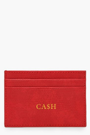 Womens Red PU Cash Foil Card Holder