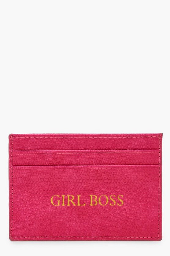 Womens Black PU Girl Boss Foil Card Holder