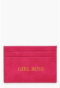 Womens Pink PU Girl Boss Foil Card Holder