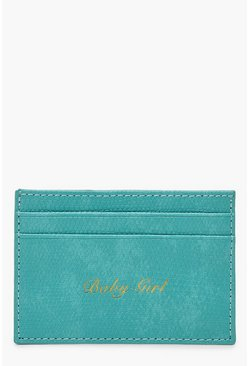 Womens Blue PU Baby Girl Foil Card Holder
