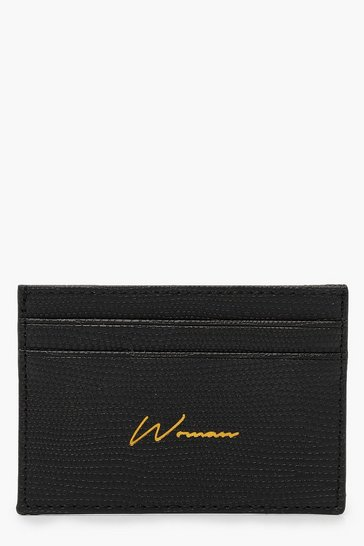 Womens Black PU Woman Foil Card Holder