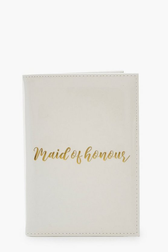 Womens White PU Maid Of Honour Gold Foil Passport Holder