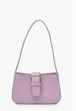 Womens Lilac Buckle Croc Shoulder Bag