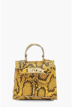 Womens Yellow Snake Micro Mini Grab Bag