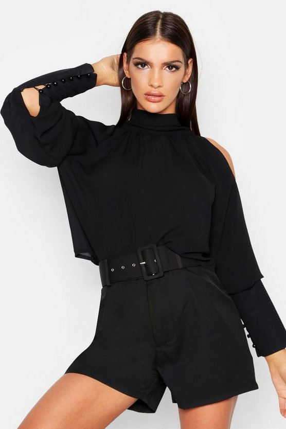 Black Woven High Neck Button Up Balloon Sleeve Blouse