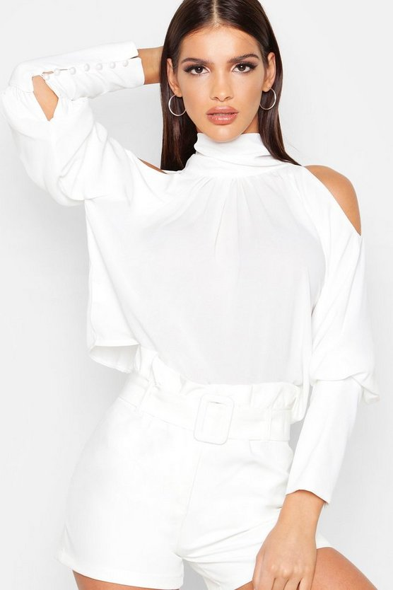 Womens White Woven High Neck Button Up Balloon Sleeve Blouse