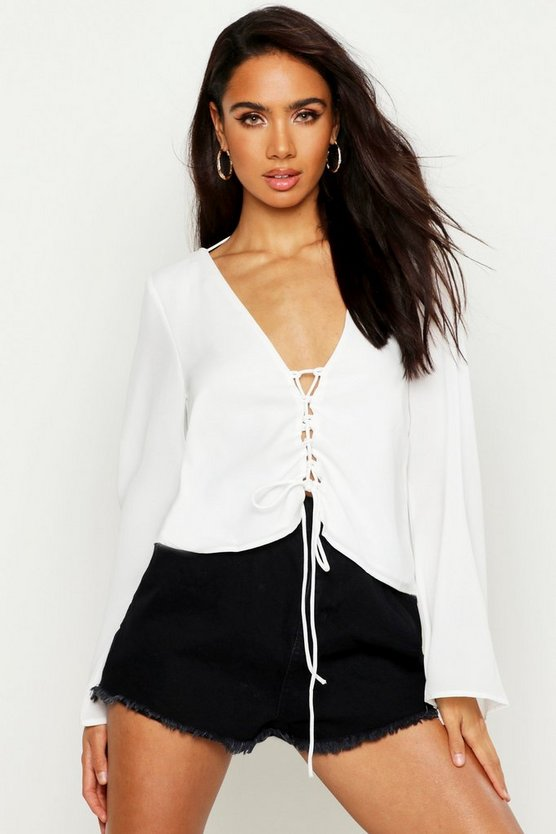 White Lace Up Back Flare Sleeve Blouse