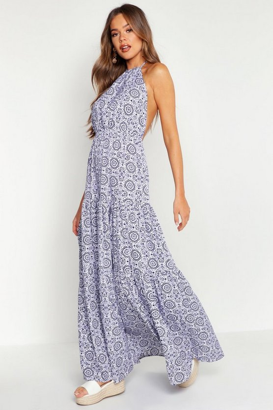 Womens Indigo Tie Dye Backless Floor Sweeping Maxi Dress