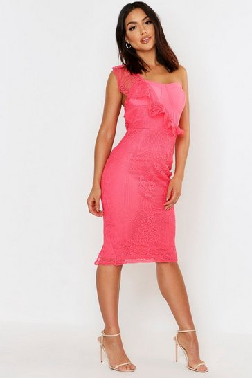 Womens Coral Lace One Shoulder Midi Dress