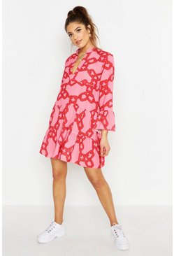 Womens Pink Woven Chain Print Smock Dress