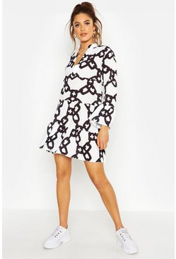 Womens White Woven Chain Print Smock Dress