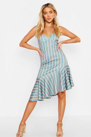 Womens Sage Strappy Cupped Frill Hem Midi Dress