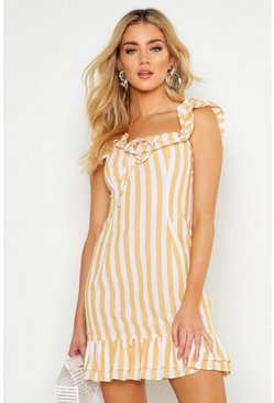 Yellow Ruffle Detail Square Neck Swing Dress