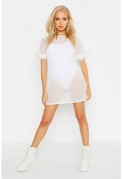 Womens White Feather Trim Mesh T-Shirt Dress