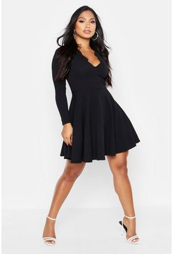 Womens Black Long Sleeve Scalloped Plunge Skater Dress