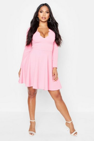 Womens Coral Long Sleeve Scalloped Plunge Skater Dress