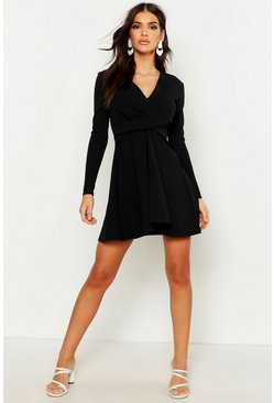 Womens Black Long Sleeve Plunge Neck Skater Dress