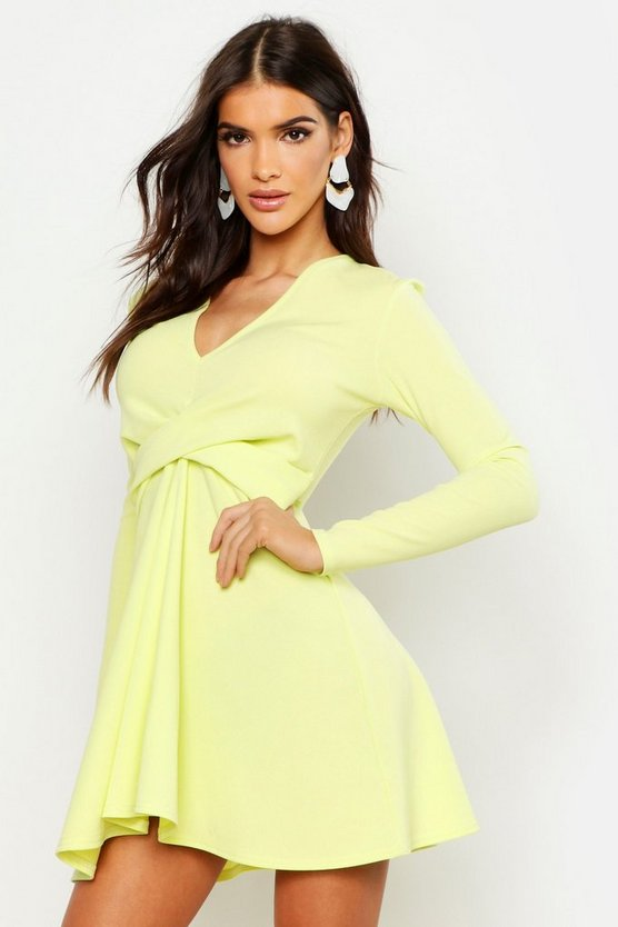 Washed lime Long Sleeve Plunge Neck Skater Dress