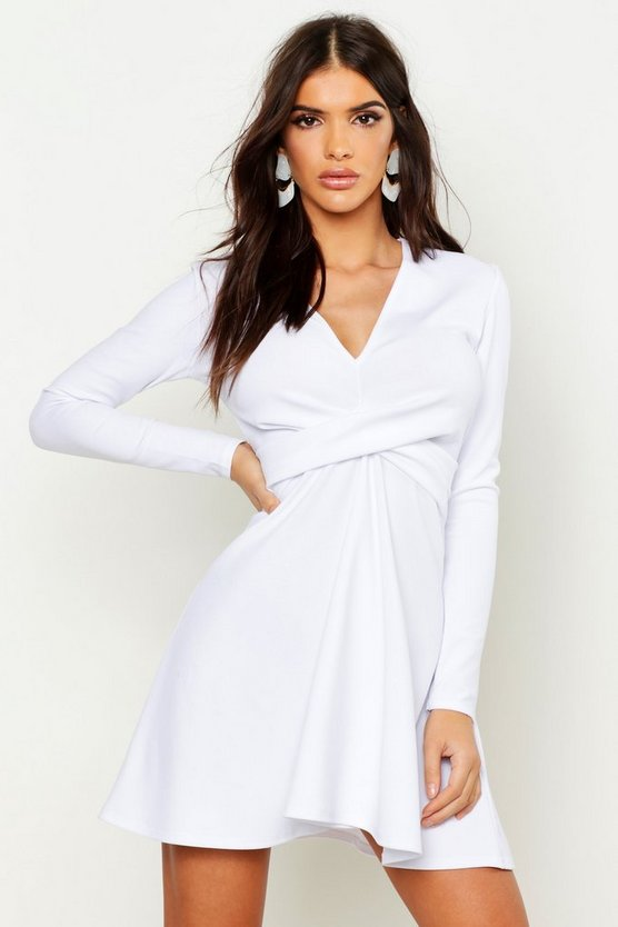Womens White Long Sleeve Plunge Neck Skater Dress