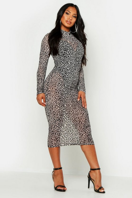 Womens Leopard Long Sleeve High Neck Midi Dress