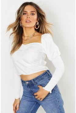 White Woven Square Neck Puff Sleeve Blouse