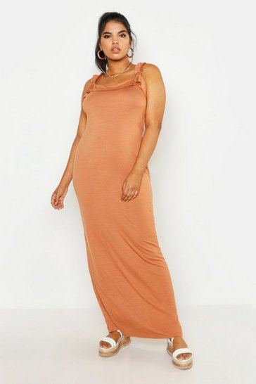 Womens Tan All Sizes Tie Detail Ruffle Maxi Dress