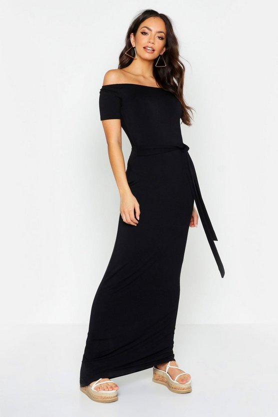 Womens Black All Sizes Off The Shoulder Belted Maxi Dress