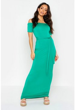 Womens Green All Sizes Off The Shoulder Belted Maxi Dress