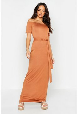 Womens Tan All Sizes Off The Shoulder Belted Maxi Dress